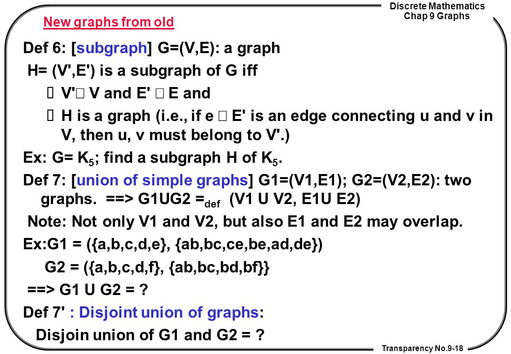 Def 6: [subgraph] G=(V,E): a graph H= (V ,E ) is a subgraph of G iff